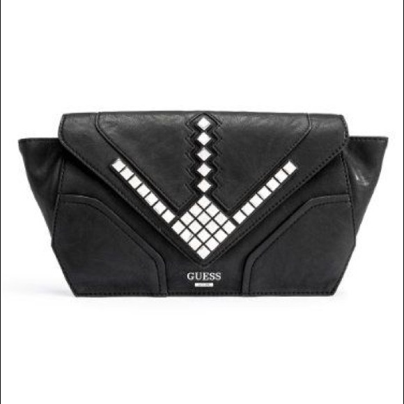9d2336b44529 Guess Handbags - GUESS Marysa Black Leather Studded Clutch Bag